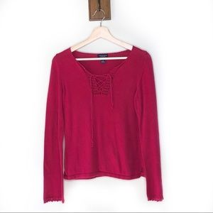 American Eagle vintage 90s red knit sweater